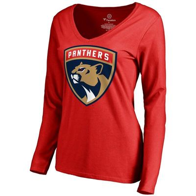 Florida Panthers Women's New Logo Long Sleeve V-Neck T-Shirt - Red -