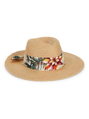 Vince Camuto Floral-Band Panama Hat