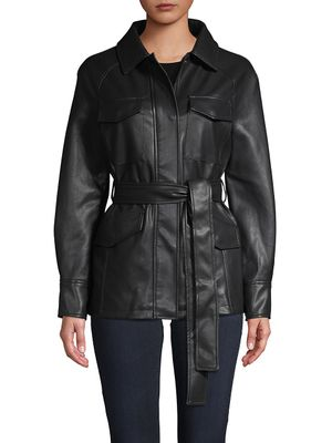 Bagatelle NYC Belted Faux Leather Jacket