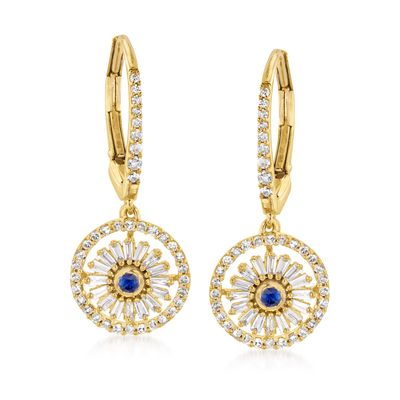 Ross-Simons Diamond and . Sapphire Drop Earrings in 18kt Gold Over Sterling