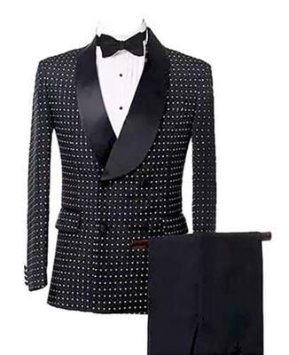 Mens Suits Double Breasted Houndstooth Groom Shawl Lapel Tuxedos Wedding Suit