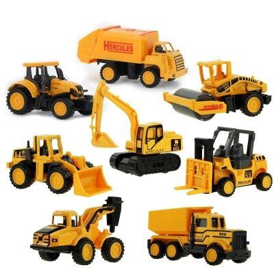 8 Styles  Baby Engineering Cars Toy Boys Girls Imitation Inertial Engineering Car Children Toy Alloy Excavator Gift 2018 New Toy