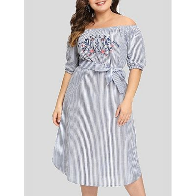 Leadsmart Plus Size Embroidery Striped Mid Calf Dress