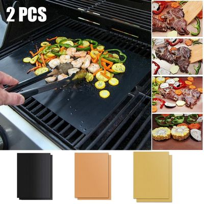 2Pcs/1Pcs 3Color Ptfe Non-stick BBQ Grill Pads Barbecue Baking Pad Reusable Cooking Plate 40*33cm For Party Grill Mat Tools