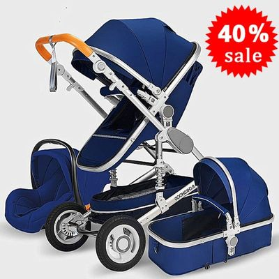 Baby stroller 3 in 1 stroller lying or dampening folding light weight two-sided child four seasons