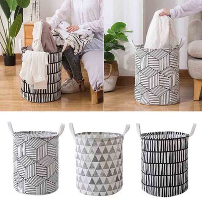 Laundry Hamper Clothes Basket Cotton Waterproof Washing Bag Foldable Clothes Toy Storage Bags Geometric Printed Organizer
