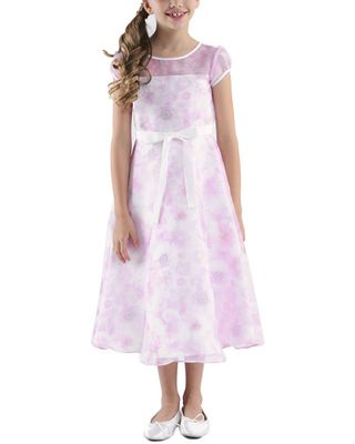 US Angels Illusion Neck Printed Organza Dress