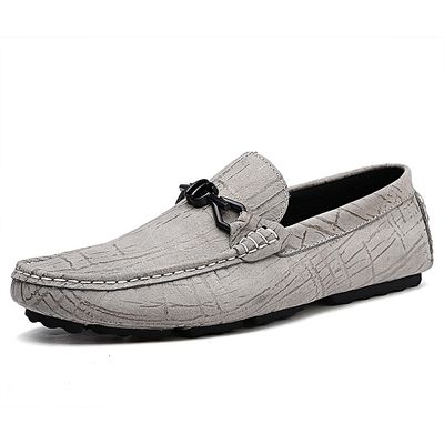 Genuine Leather Loafers Men Slip On Casual Shoes Moccasins (Grey)