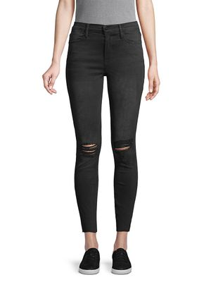FRAME DENIM Le High Ripped Knee Skinny Jeans