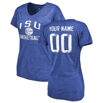 Indiana State Sycamores Women's Personalized Distressed Basketball Tri-Blend V-Neck T-Shirt - Royal