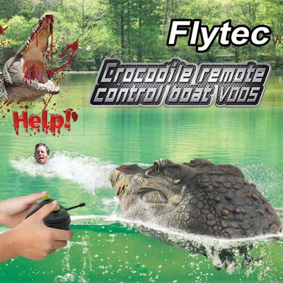 Flytec V005 RC Boat 2.4G Simulation Crocodile Head RC Boat Water Racing Remote Control Toys #EW