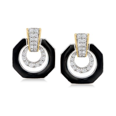 Ross-Simons Diamond and Black Enamel Drop Earrings in Sterling Silver and 14kt Yellow Gold