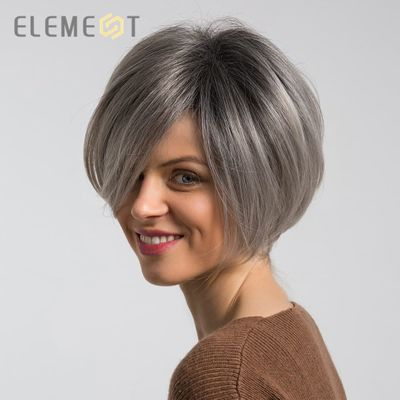 Element 6 inch Short Synthetic Wigs Mix 50% Human Hair Ombre Grey Red Color Left Side Parting Natural Headline Wig for Women