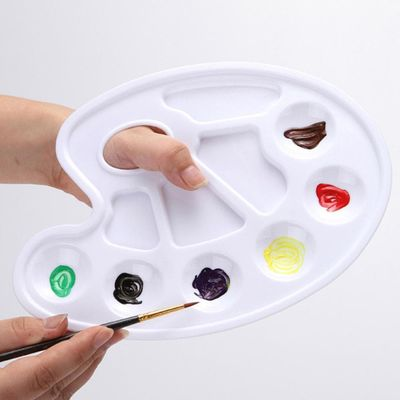 Plastic Paint tray Plastic Palette Art Paint Plastic Drawing Tray Color Palette For Oil Watercolour White Painting Pallet @25