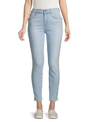 7 For All Mankind Fringed High-Rise Skinny Jeans