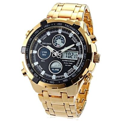 Men's Water Resistant LCD Wrist Watch With Black Dial - Gold