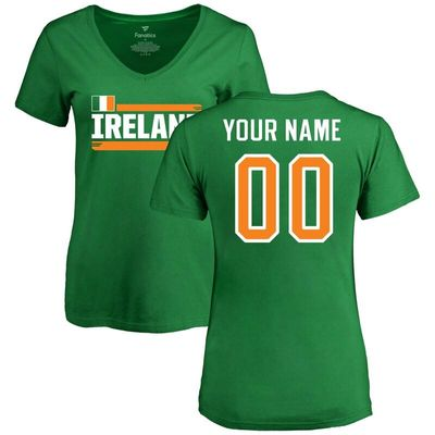 Ireland Women's Personalized Name & Number T-Shirt - Kelly Green
