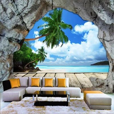Custom wallpaper mural cave stone wall beach sea view 3d large living room bedroom sofa TV background wall