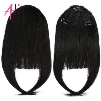 Ali-Beauty Human Hair Bangs Brazilian Machine Made Remy Fringe Hair Extensions 3 Clips In