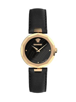 Versace Idyia IP Gold Stainless Steel Leather-Strap Watch
