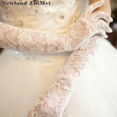 Newland ZhiMei Long White Lace Bridal Gloves Cheap Wedding Party Sheer Gloves Wedding Accessories Vintage luva de noiva