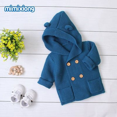 Pudcoco Lovely Autumn Knitted Coat Infant Baby Kids Boy Girl Soild Color Button Hooded Sweaters Outfit 3-24M