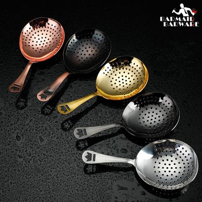 Julep Bar Cocktail Strainer 304 Stainless Steel Copper Plated Gold Plated Black Bar Tool