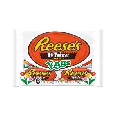 REESE'S, White Creme & Peanut Butter Eggs Candy, Easter, 7.2 oz, Pack, 6 Pack
