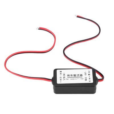 12V DC Car Power Filter Rectifier Camera Power Filter Rearview Camera Filter for Germany/American Car Series Black