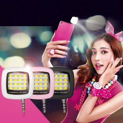 16pcs LED Mini Flash Fill Light For Mobile Phone Selfie Brightness Photography Lamp 3.5mm Bright LED Video Light Lamp