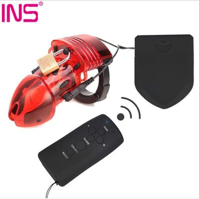 INS Chastity Device Electro Shock Cock Cage For Man Male Locks With Adjustable Ring Sex Toys Electro Shock Accessories