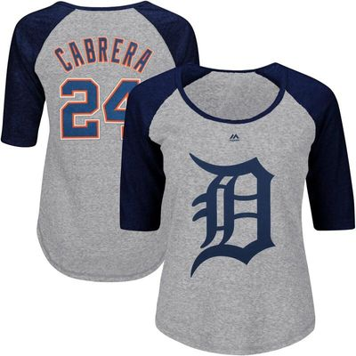 Miguel Cabrera Detroit Tigers Majestic Women's Plus Size Name & Number Three-Quarter Sleeve Raglan T-Shirt - Gray