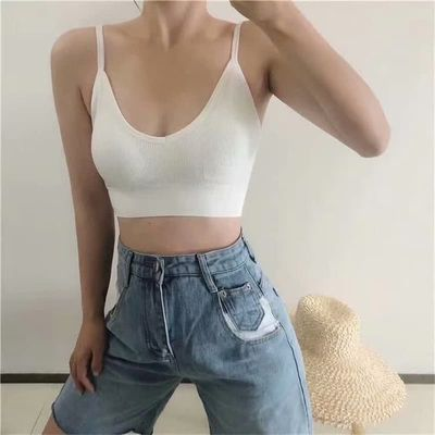 New women's underwear without steel ring thin section gathered bra tube top student simple solid color thread beauty back linger