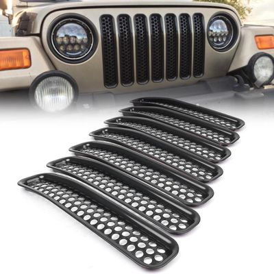 For Jeep Wrangler TJ 7Pcs Front Grille Cover Insert Mesh Grill 1997 1998 1999 2000 2001 2002 2003 2004 2005 2006 Car Accessories