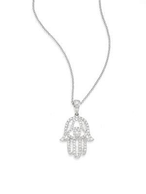 Effy 0.56 TCW Diamond & 14K White Gold Hamsa Pendant Necklace