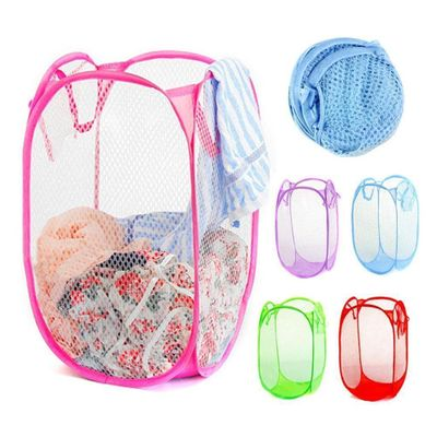 Foldable Washing Clothes Up Hamper Laundry Basket Mesh Storage Nylon Bin