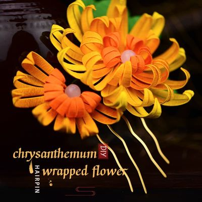 Chrysanthemum hand-wrapped hairpin DIY kit Hair jewelry silk thread winding Traditional crafts Manual experience