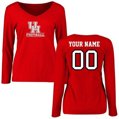 Houston Cougars Women's Personalized Football Long Sleeve T-Shirt - Red