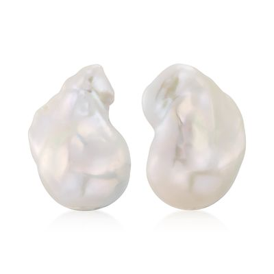 Ross-Simons 22x18mm Cultured Baroque Pearl Earrings in 14kt Yellow Gold