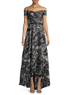 Rene Ruiz Collection Off-The-Shoulder Print Flare Gown