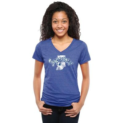 Indiana State Sycamores Women's Classic Primary Tri-Blend V-Neck T-Shirt - Royal