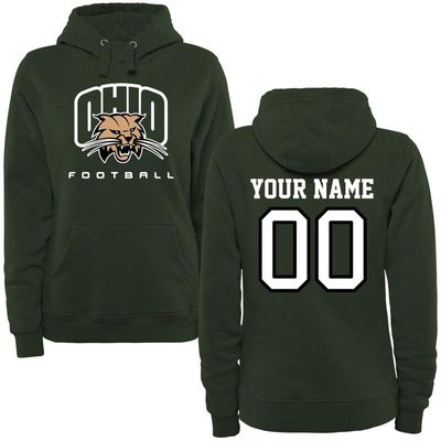 Ohio Bobcats Women's Personalized Football Pullover Hoodie - Green