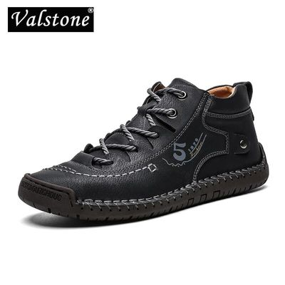 Valstone autumn winter Men sneakers Medium-cut boots Male Vintage Leather handmade shoes sneakers XL size 48 Retro Frosty boots