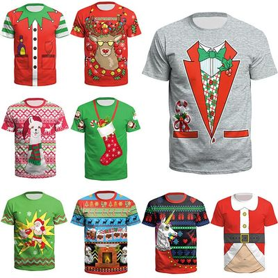 Boy Christmas Clothes New Santa Ready for Christmas Youth Short Sleeve T-Shirt Christmas Event Party Costume