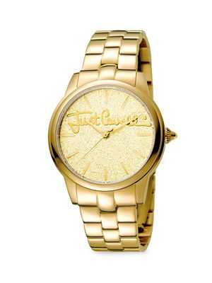Just Cavalli Glam Chic Mohair Goldtone Stainless Steel Watch