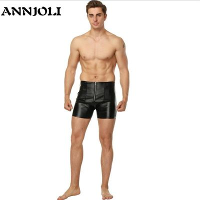 ANNJOLI New PU Leather Men PVC Latex Male Erotic Fetish Costume Sexy Boxer Shorts Gays Lingerie SM Game Exposing Ass Panties