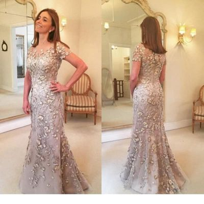 Mermaid Sequined Beading Lace Wedding Mother Of The Bride Evening Long Dresses Formal Dress