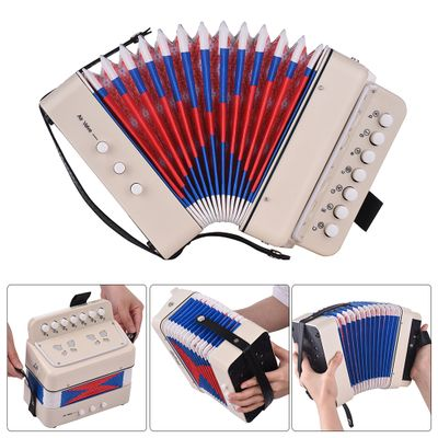 Mini 10-Button Kids Accordion Toy Supports Bass Chords 14 Notes with Cleaning Cloth Educational Music Instrument for Children