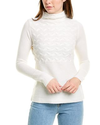 Forte Cashmere Horizontal Cable-Knit Cashmere Sweater