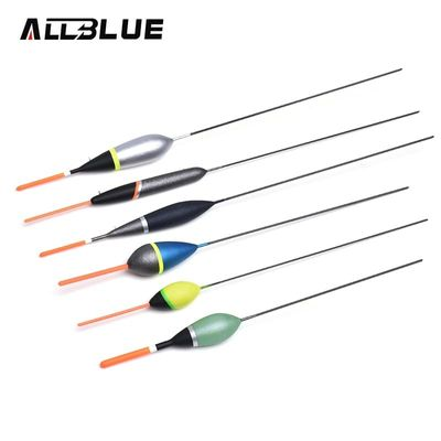 ALLBLUE 6Pcs/set 3A Balsa Wood Fishing Float Set European Dipping Paint Carbon Stems For Carp Ice Fishing Tackle Accessory